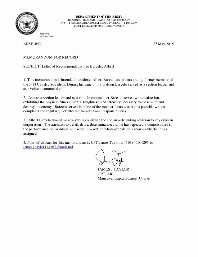 Army Letter Of Recommendation Elegant Ssg Barcelo Letter Of Re Mendation