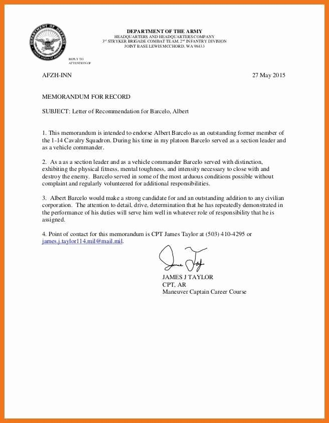 Army Letter Of Recommendation Lovely 6 7 Army Letter Of Re Mendation