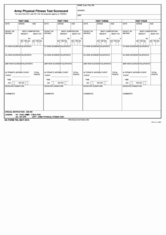 Army Pt Plan Template Best Of Fillable Da form 705 Army Physical Fitness Test