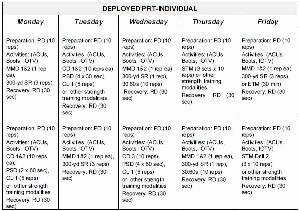 Army Pt Plan Template Best Of Sustaining Phase Prt Schedules