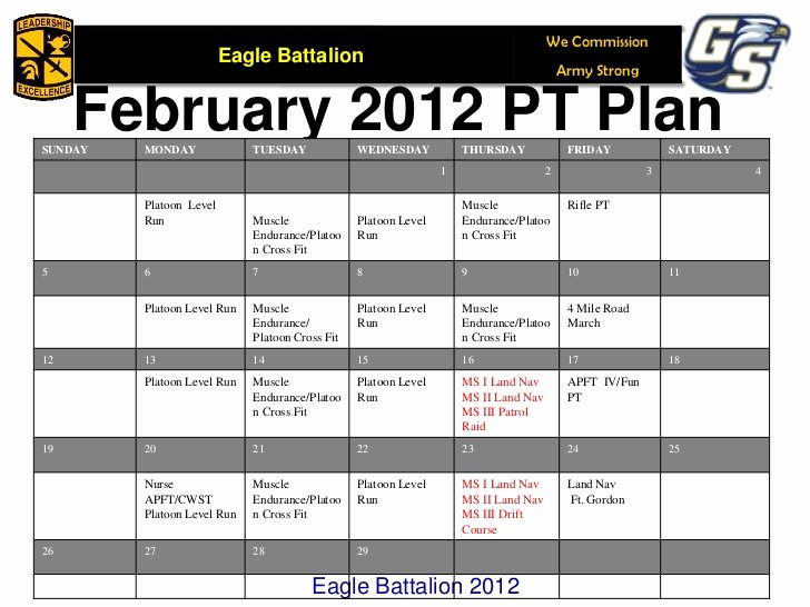 Army Pt Plan Template Lovely Army Pt Calendar Fillable Bing Images