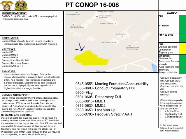 Army Pt Plan Template Lovely Army Pt Conop