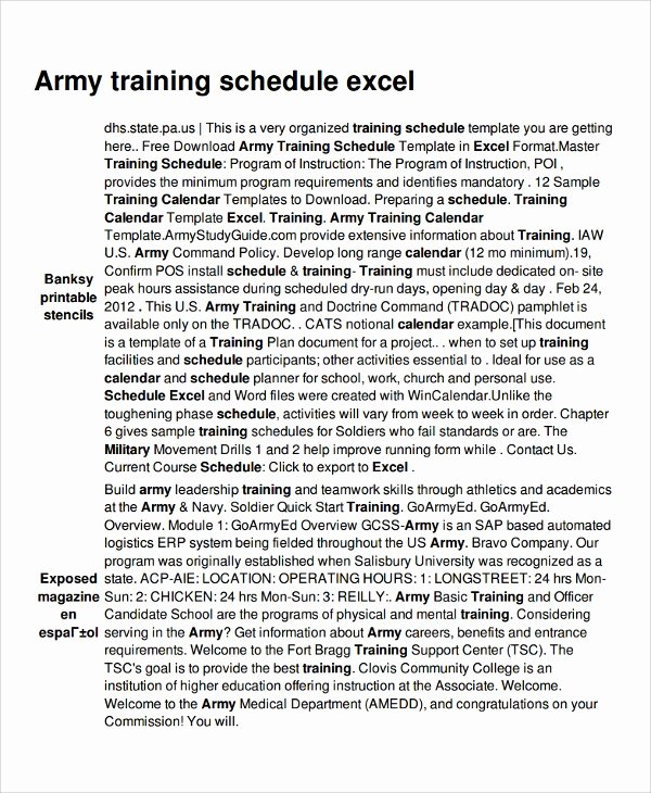 Army Training Plan Template Beautiful 17 Training Schedule Templates