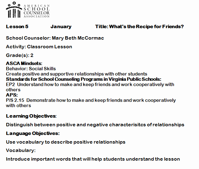 Asca Lesson Plan Template Lovely Elementary Counseling Blog Using asca Mindsets In Lesson