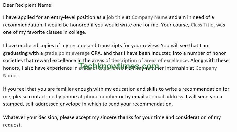 Ask Professor for Recommendation Letter Fresh Letter to Professor for Re Mendation