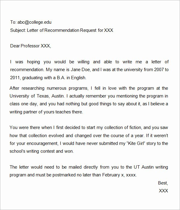 Asking for A Recommendation Letter Elegant 44 Sample Letters Of Re Mendation for Graduate School