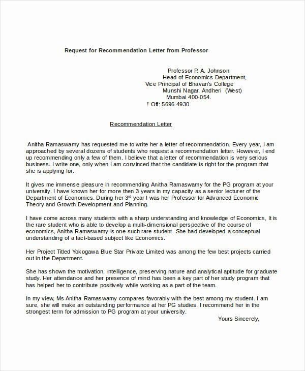 Asking for A Recommendation Letter Fresh 37 Simple Re Mendation Letter Template Free Word Pdf