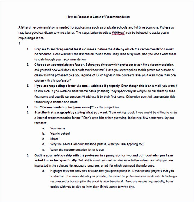 Asking for A Recommendation Letter Inspirational 15 Letter Of Re Mendation format Basic Template to