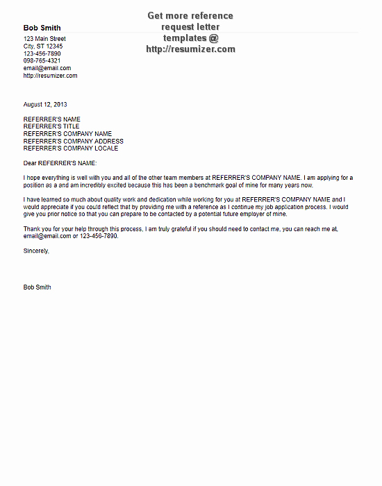 Asking for A Recommendation Letter Lovely Reference Request Letter Template 1