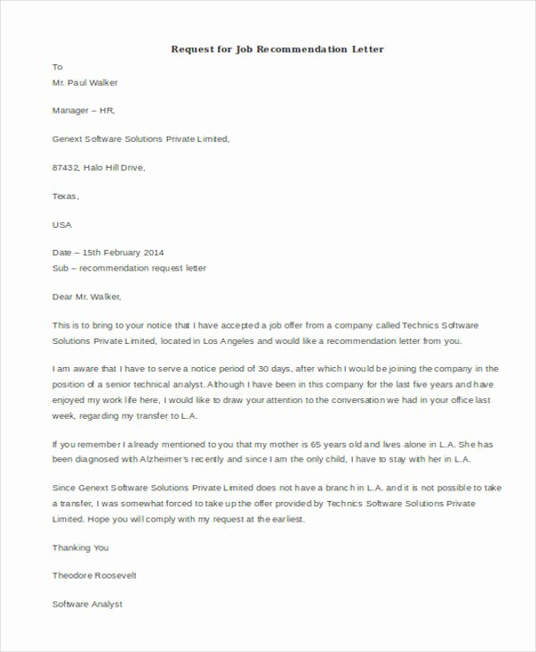 Asking for Recommendation Letter Sample Inspirational 45 Free Re Mendation Letter Templates