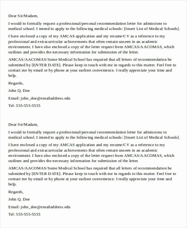 Asking for Recommendation Letter Sample Unique 8 Medical School Re Mendation Letter – Pdf Word