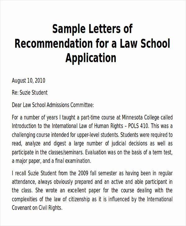 Asu Letter Of Recommendation Elegant Sample Law School Letter Of Re Mendation 6 Examples