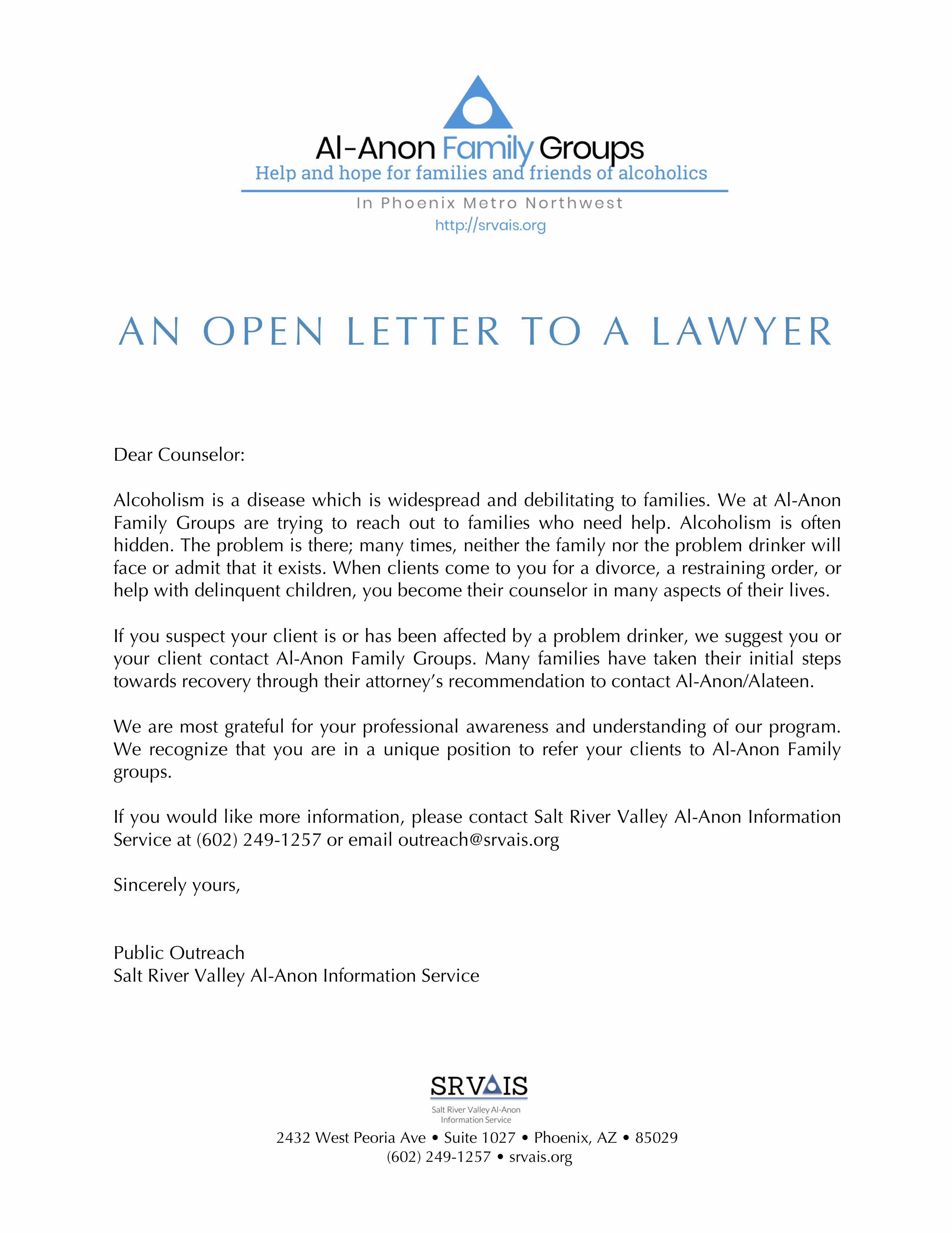 Attorney Letter Of Recommendation Best Of Open Letter to attorney – Salt River Valley Al Anon