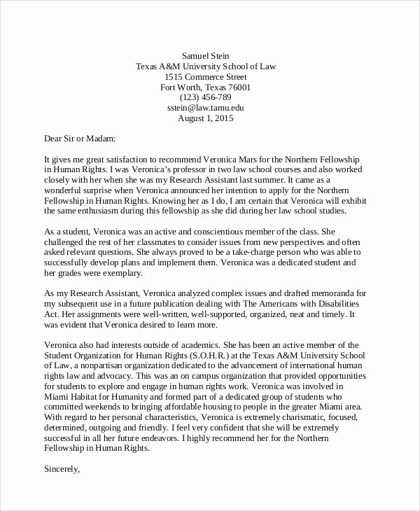 Attorney Letter Of Recommendation Unique 8 Sample Student Re Mendation Letters