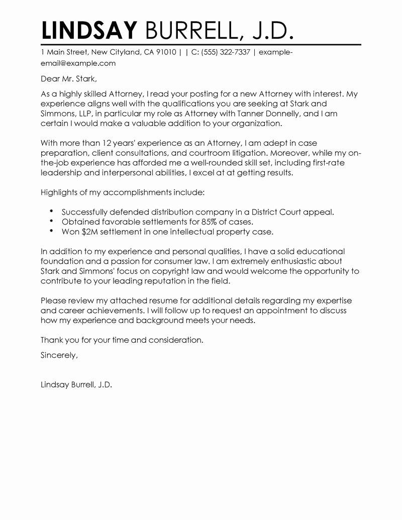 Attorney Letter Of Recommendation Unique attorney Cover Letter Examples