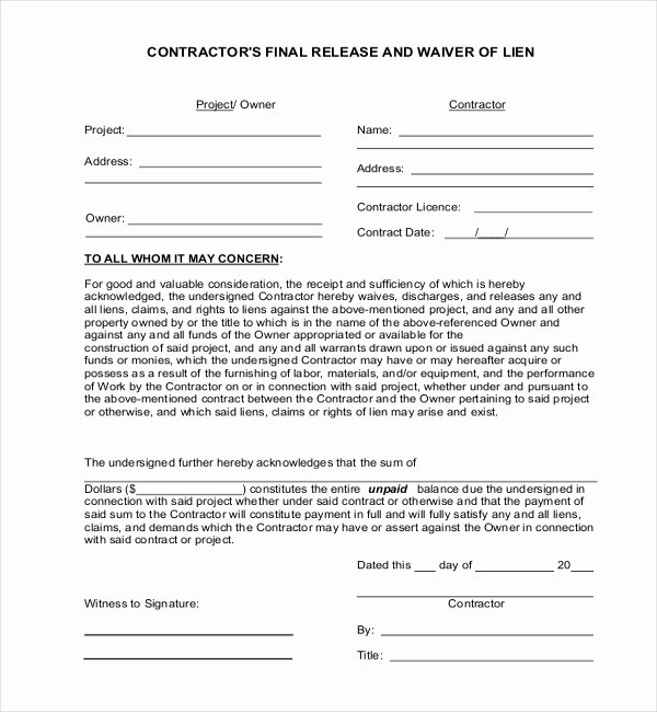 Auto Lien Release Letter Template Awesome 11 Lien Release Sample forms – Word Pdf