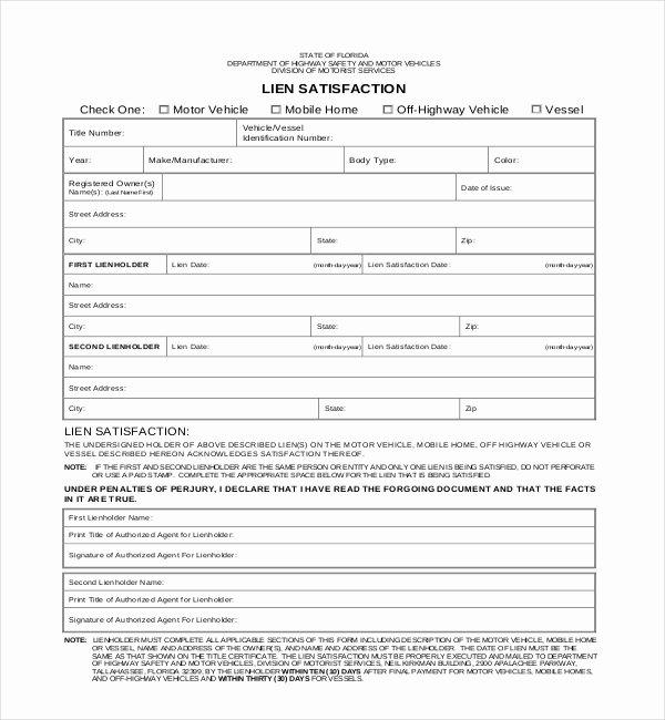 Auto Lien Release Letter Template Beautiful 11 Lien Release Sample forms – Word Pdf