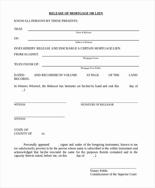 Auto Lien Release Letter Template Elegant Sample Lien Release form 11 Free Documents In Doc Pdf