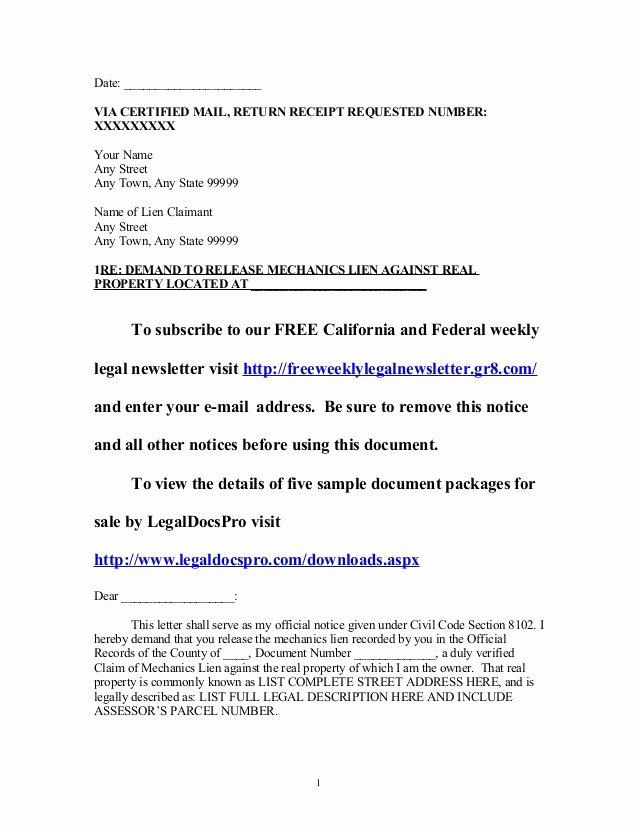 Auto Lien Release Letter Template Fresh Sample California Mechanics Lien Release Demand Letter