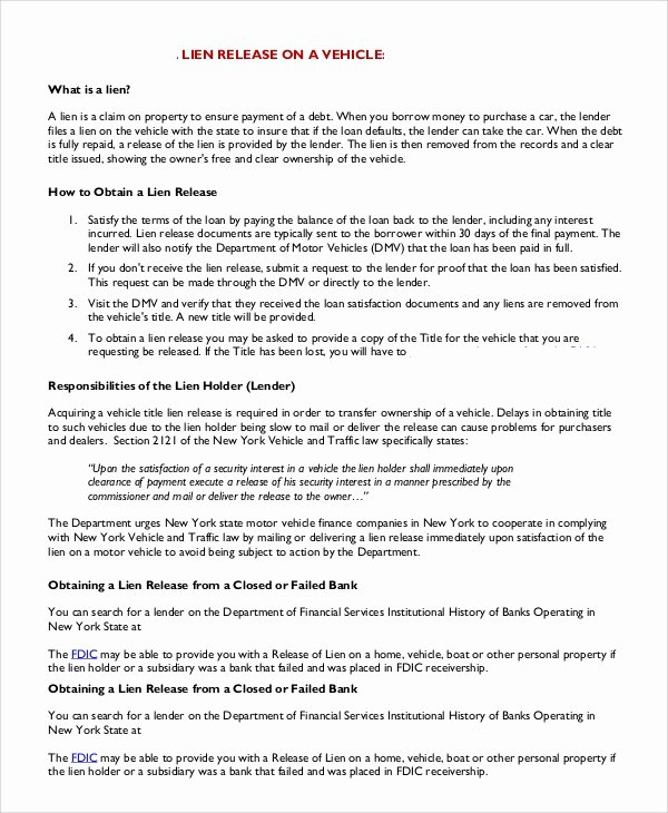 Auto Lien Release Letter Template Inspirational 8 Release Of Lien Samples