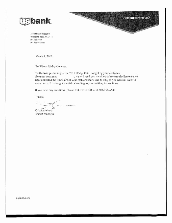 Auto Lien Release Letter Template Inspirational ford Motor Credit Pany Lien Release Impremedia