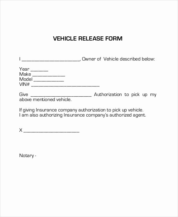 Auto Lien Release Letter Template Inspirational Sample Vehicle Release form 9 Examples In Word Pdf