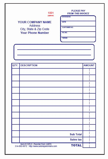Auto Repair Receipt Template Fresh Mechanic Receipt Template