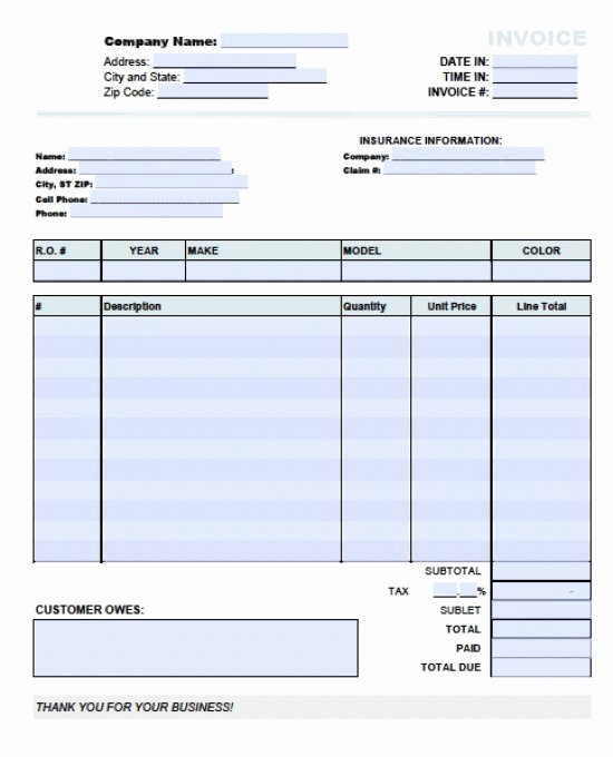 Auto Repair Receipt Template Inspirational Auto Invoice Template