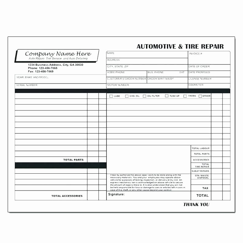 Auto Repair Receipt Template New Mechanic Receipt Template Home Repair Invoice Mechanic