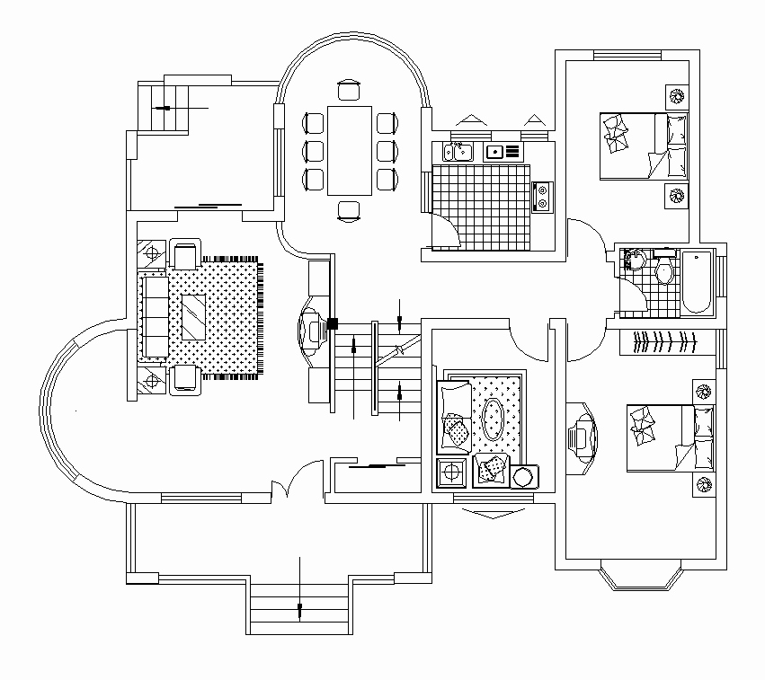 Autocad Floor Plan Template Inspirational 2d Cad House Floor Plan Layout Cadblocksfree Cad Blocks