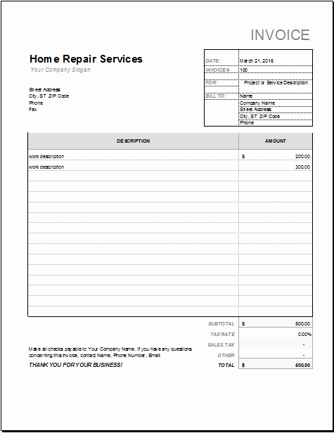 Automotive Repair Receipt Template Elegant Home Repair Receipt Template for Excel
