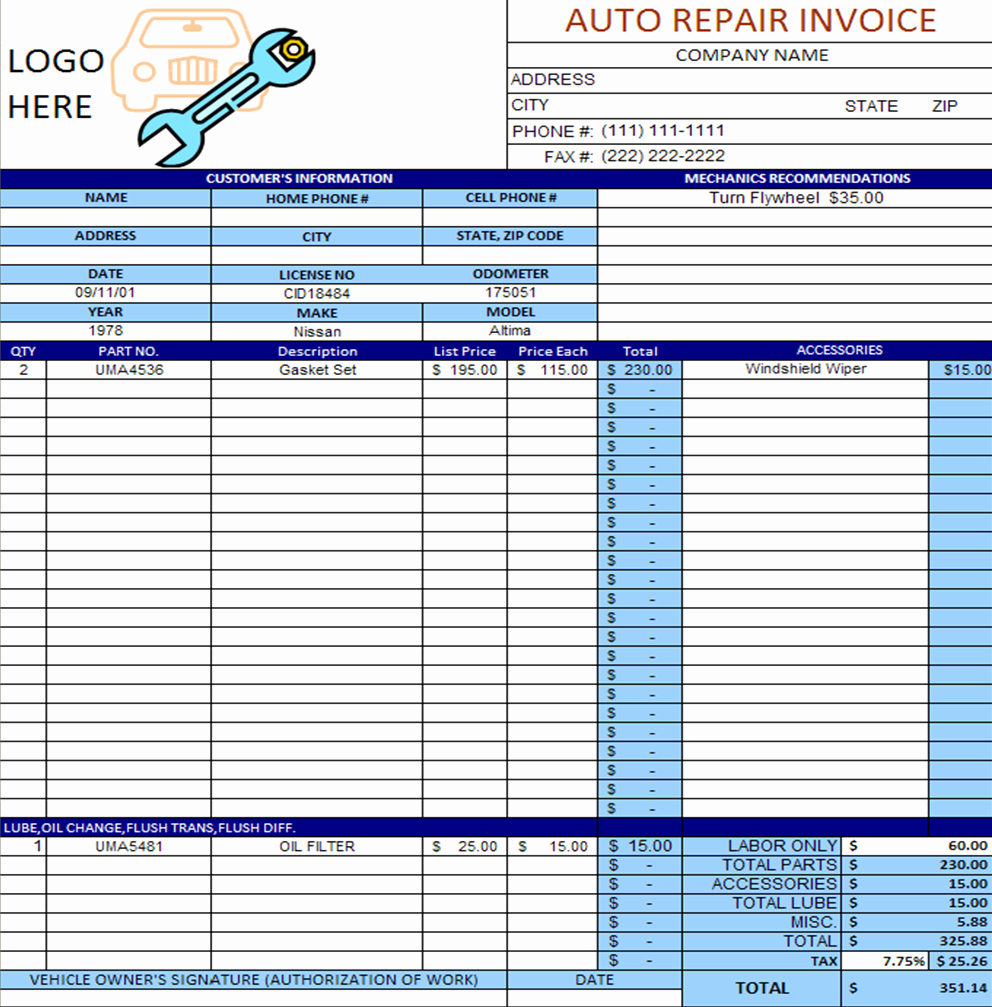 Automotive Repair Receipt Template Fresh Auto Repair Invoice Template Excel