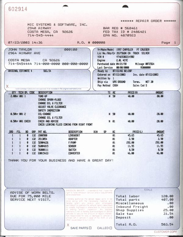 Automotive Repair Receipt Template Inspirational Auto Repair Invoice form