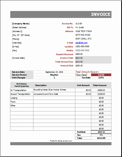 Automotive Repair Receipt Template Luxury Auto Repair Billing Invoice for Excel