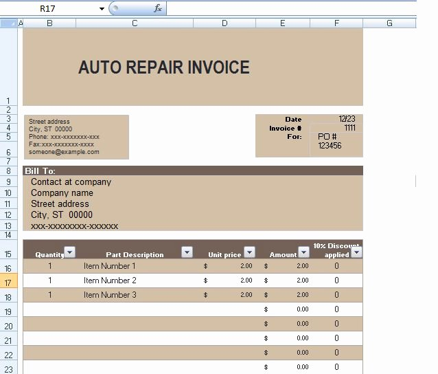 Automotive Repair Receipt Template New Auto Repair Invoice Template In Excel format
