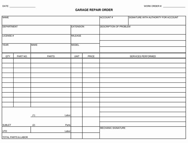 Automotive Repair Receipt Template Unique Auto Repair Invoice Templates 10 Printable and Fillable