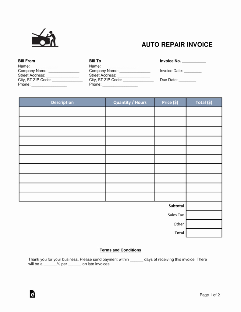 Automotive Repair Receipt Template Unique Free Auto Body Mechanic Invoice Template Word