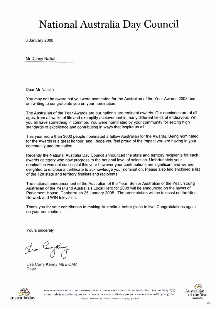 Award Recommendation Letter Sample Awesome Australian the Year Nomination Award for Pastor