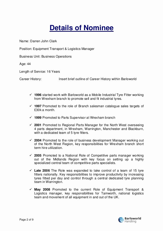 Award Recommendation Letter Sample Awesome Writing A Award Nomination Sample