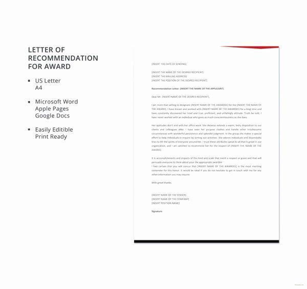 Award Recommendation Letter Sample Inspirational Letter Re Mendation format 15 Free Word Pdf