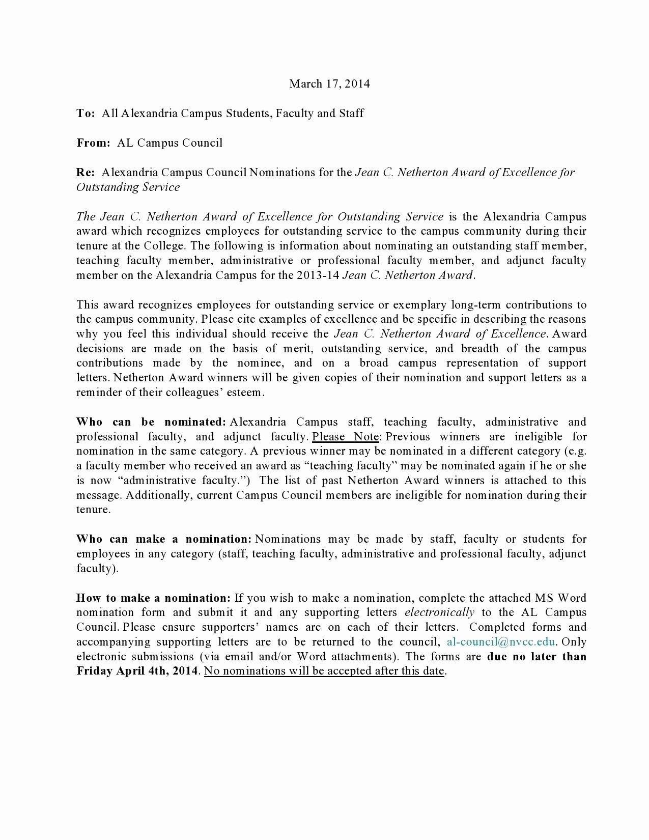 Award Recommendation Letter Sample Lovely Sample Award Nomination Letter for Employee