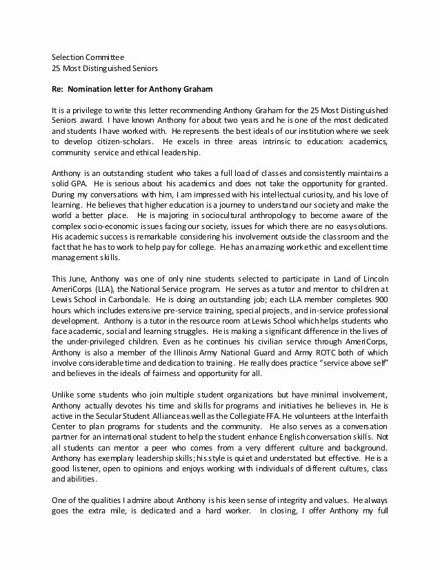 Award Recommendation Letter Sample Unique How to Write Nomination Letter for Leadership Award