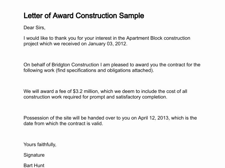 Award Recommendation Letter Sample Unique Letter Of Award
