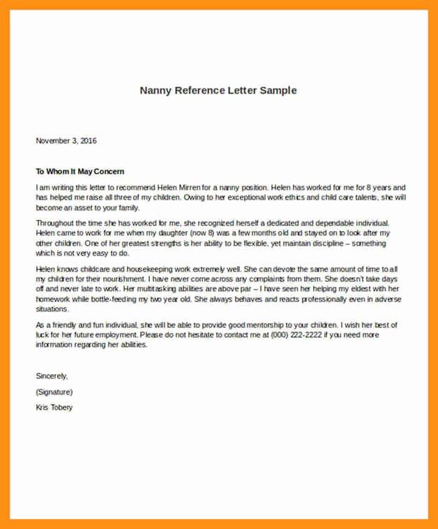 Babysitter Letter Of Recommendation Elegant Nanny Letter Of Re Mendation