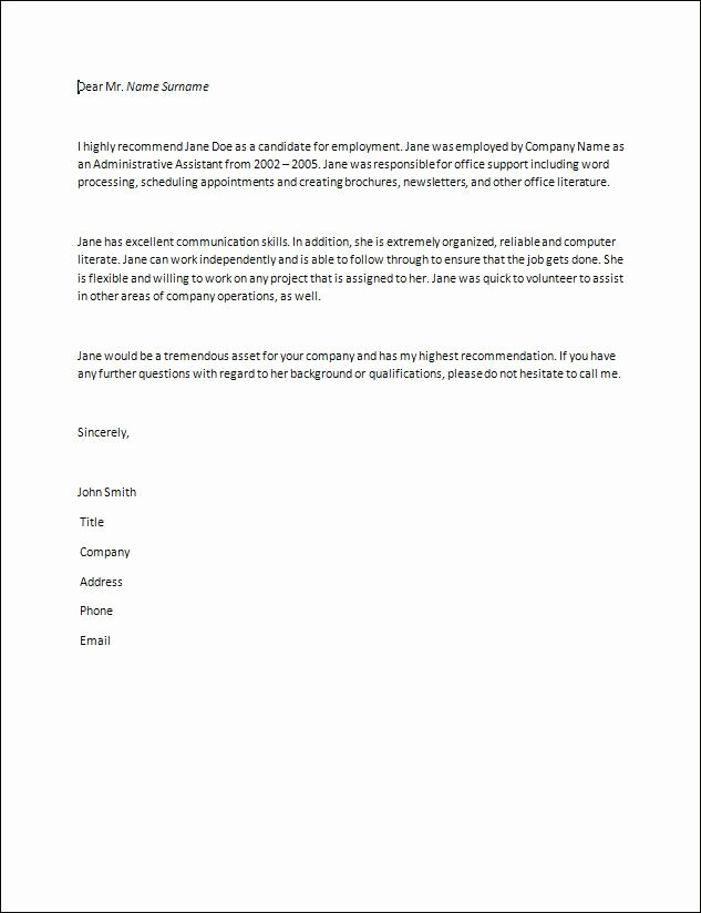 Babysitter Letter Of Recommendation Inspirational Letter Of Re Mendation Samples