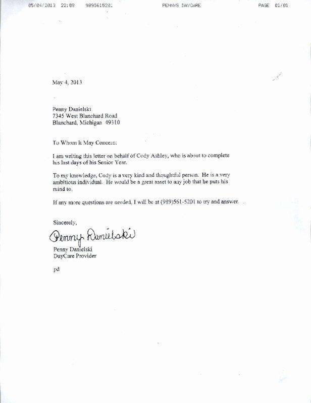 Babysitter Letter Of Recommendation Inspirational Personal Testimony Cody ashley S Career Portfolio