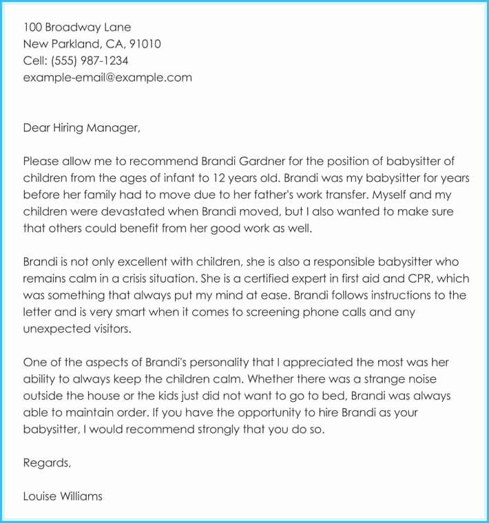 Babysitter Letter Of Recommendation Lovely Babysitter Reference Letter Writing Guide & Free Sample