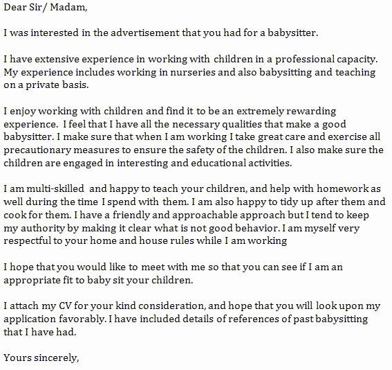 Babysitter Letter Of Recommendation Lovely Re Mendation Letter for Babysitter Lovely Good Behavior