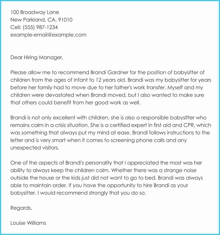Babysitter Letter Of Recommendation Unique Letter Re Mendation for Babysitter