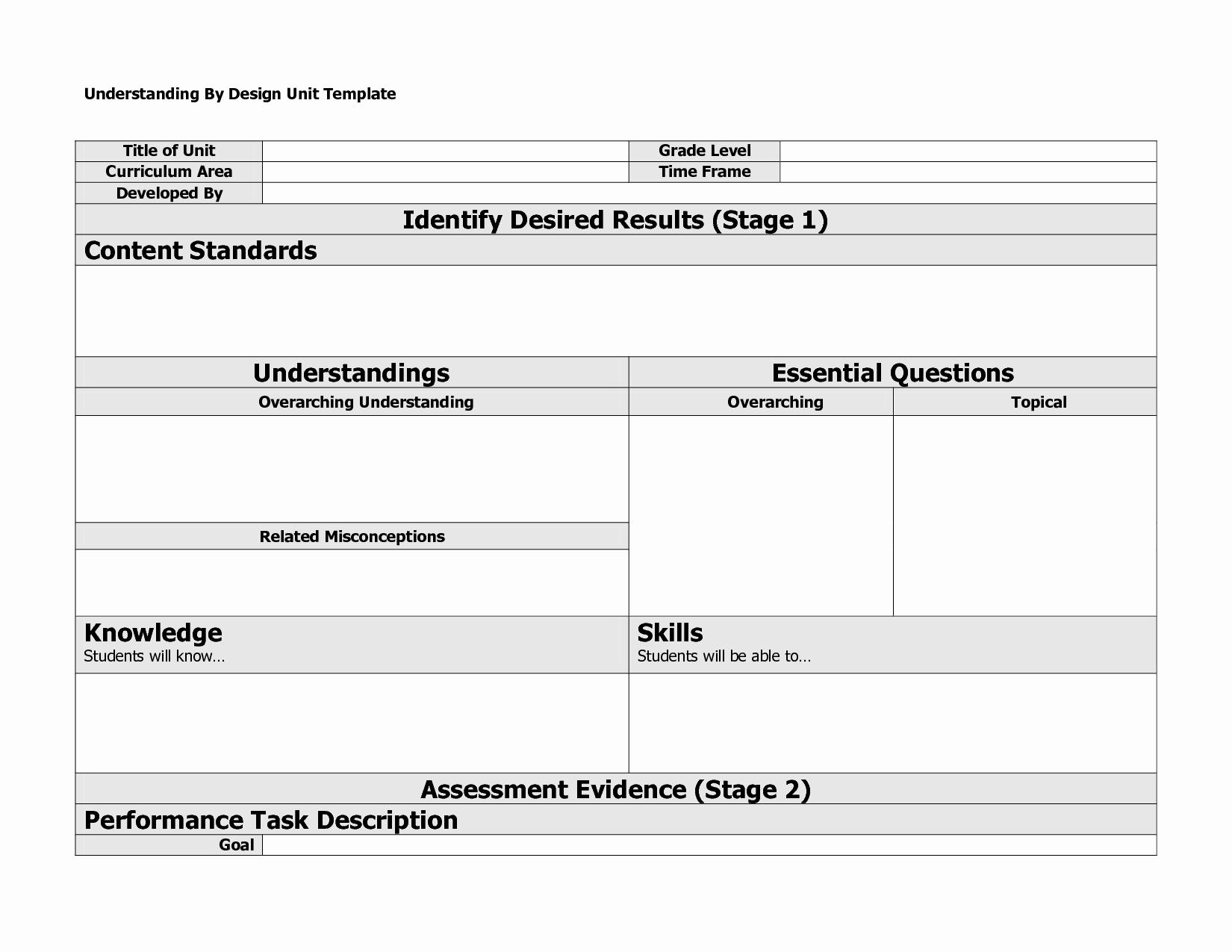Backward Design Lesson Plan Template Lovely Understanding by Design Template
